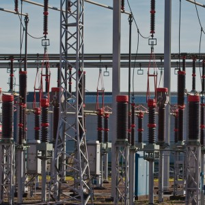 Battery of transformers at power station