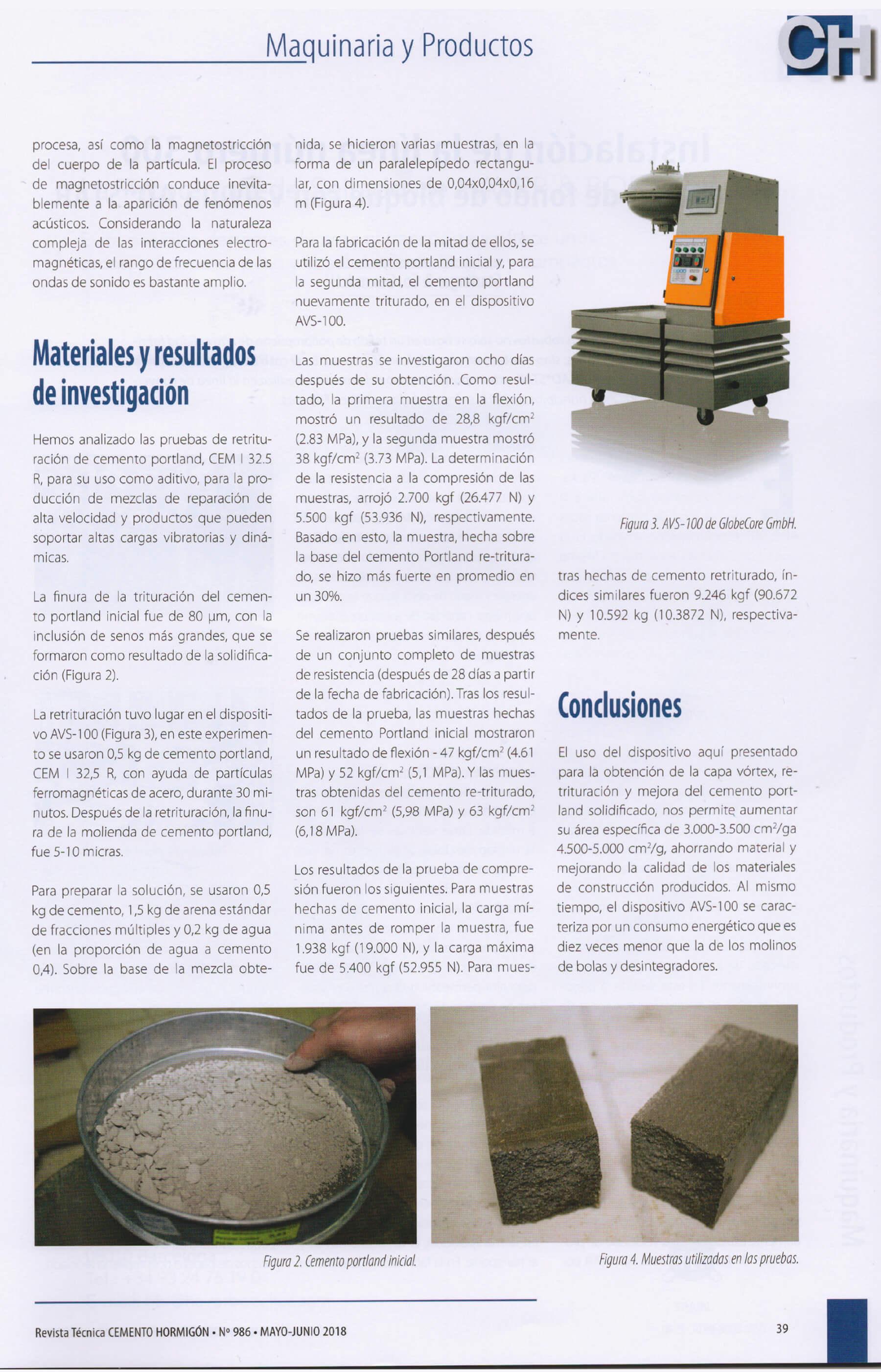 GlobeCore in der Presse: Cemento Hormigón Magazine